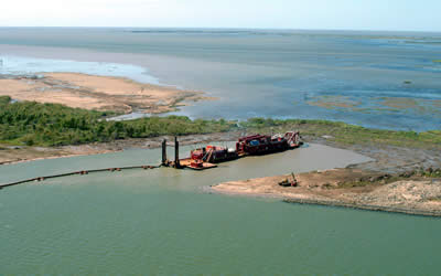 West Bay diversion working to build and sustain land. photo via lacoast.gov.